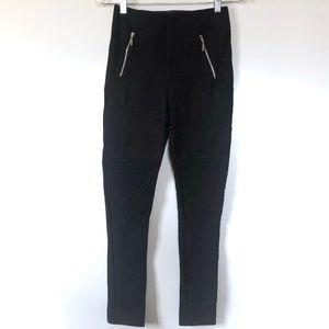 Zara Basic Pant Moto Zip Skinny Ankle High Rise